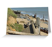 Collapsed concrete ramp at Happisburgh Beach Norfolk Greeting Card