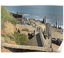 Collapsed concrete ramp at Happisburgh Beach Norfolk Poster