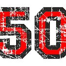 Number 50 Black/Red Vintage 50th Birthday Design by theshirtshops