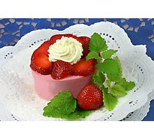 Yoghurt and Strawberries Photographic Print
