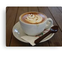 Americano Coffee with Tulip Design Canvas Print