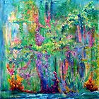 riverbank; semi-abstract or abstract realist oil on canvas by Regina Valluzzi