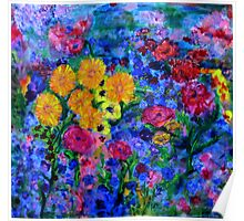 Flowers growing up a blue wall - semiabstract Poster