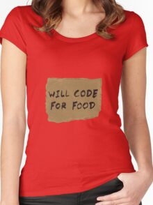 Will Code For Food Women's Fitted Scoop T-Shirt
