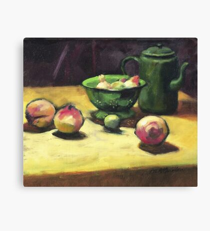 The Green Collander, oil painting on board. Canvas Print