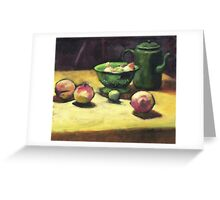 The Green Collander, oil painting on board. Greeting Card