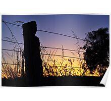 Rainbow Farm Through The Fence Sunrise Poster