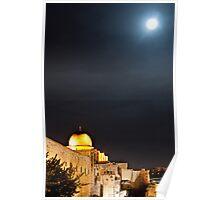 Moon rises, Al-Aqsa Mosque, Israeli-occupied East Jerusalem Poster