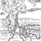 Abstract sea creature - pen and ink on paper by Regina Valluzzi
