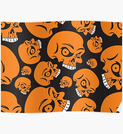 The Orange Skull - Halloween Skulls Poster