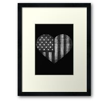 Black/White American Heart Framed Print
