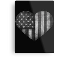 Black/White American Heart Metal Print
