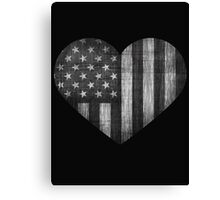 Black/White American Heart Canvas Print