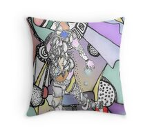 Computer enhanced walking figure Throw Pillow