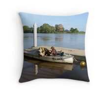 An old man, an old boat and a new jetty Throw Pillow