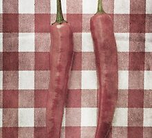 Still life of two red chili peppers by Artmassage