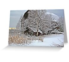 Barn and frosty trees Greeting Card