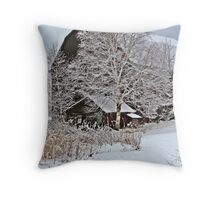 Barn and frosty trees Throw Pillow
