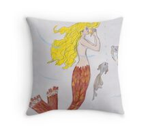 Mermaid with the blond hair Throw Pillow