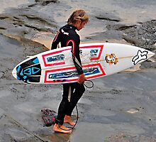 Cowrie Hole Surfer - Newcastle NSW by Bev Woodman