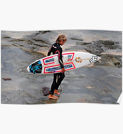 Cowrie Hole Surfer - Newcastle NSW Poster