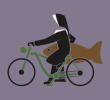 A nun on a bike with a fish by Michael Alesich