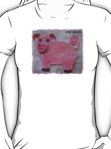 Pink  Pig on Paper T-Shirt