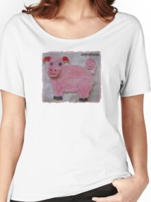 Pink  Pig on Paper Women's Relaxed Fit T-Shirt