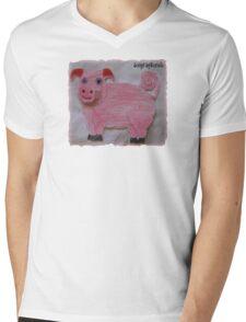 Pink  Pig on Paper Mens V-Neck T-Shirt