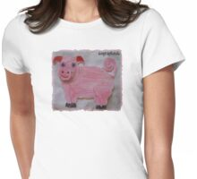 Pink  Pig on Paper Womens Fitted T-Shirt