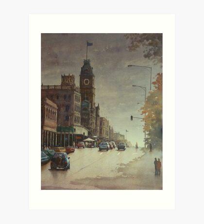 Sturt street, Ballarat at dusk Art Print