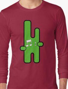 Funny digital green alien Long Sleeve T-Shirt