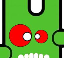 Funny digital green vampire alien Sticker