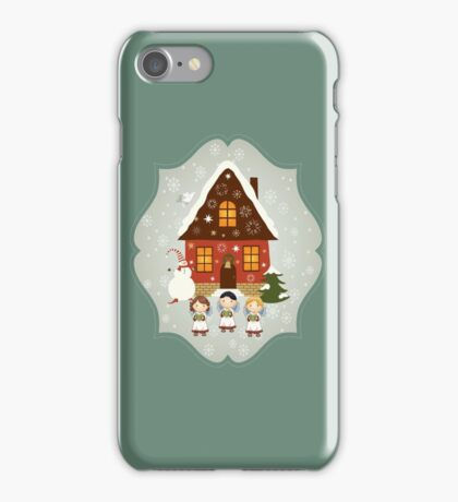 Little Carolers Christmas Card - Holiday Saying iPhone Case/Skin