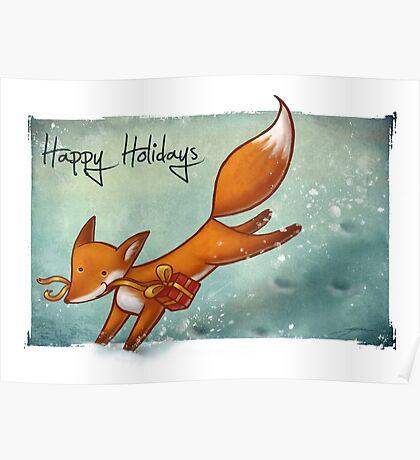 Holiday Fox Poster