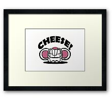 "Funny ""Say Cheese"" mouse Framed Print"