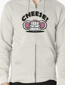 """Funny """"Say Cheese"""" mouse Zipped Hoodie"""