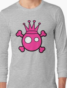 Funny pink skull and bones king Long Sleeve T-Shirt