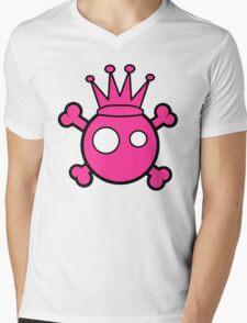 Funny pink skull and bones king Mens V-Neck T-Shirt