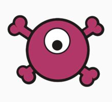 Funny pink cyclops skull and bones by queensoft