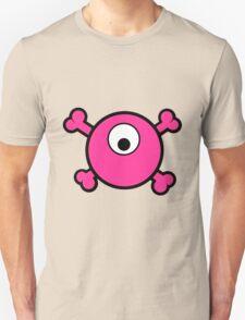 Funny pink cyclops skull and bones Unisex T-Shirt