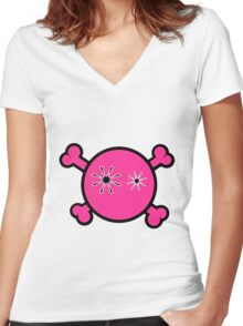 Funny pink skull and bones Women's Fitted V-Neck T-Shirt