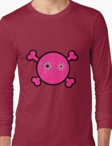 Funny pink skull and bones Long Sleeve T-Shirt