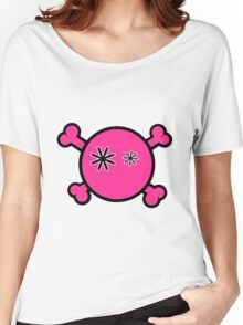 Funny pink skull and bones Women's Relaxed Fit T-Shirt