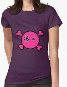 Funny pink skull and bones Womens Fitted T-Shirt