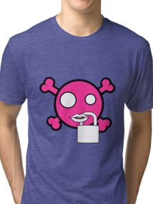 Funny pink skull and bones locked mouth Tri-blend T-Shirt
