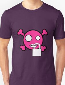 Funny pink skull and bones locked mouth Unisex T-Shirt