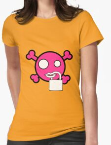Funny pink skull and bones locked mouth T-Shirt
