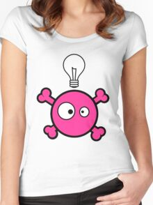 Funny pink skull and bones with ideea light bulb Women's Fitted Scoop T-Shirt
