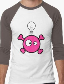 Funny pink skull and bones with ideea light bulb Men's Baseball ¾ T-Shirt